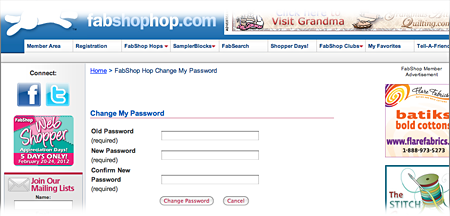 Member Area Change My Password