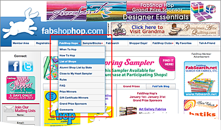 FabShop Hop List of Shops